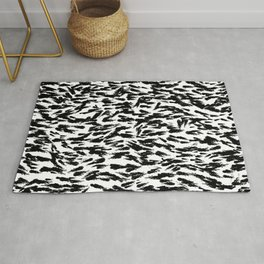 Black and White Ocean Current Abstract Pattern Rug