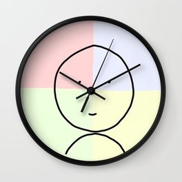 Red Blue Green and Yellow Smiley :) Wall Clock