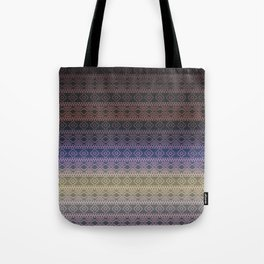 Antique Faded Ombre Shaded Rainbow Aztec Geometric Tribal Pattern Tote Bag