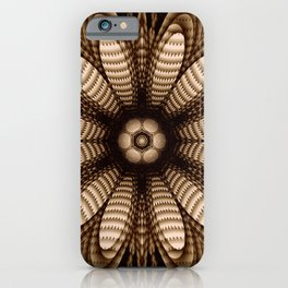 Abstract flower mandala with geometric texture iPhone Case