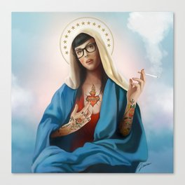 Holy Mary Hipster Canvas Print