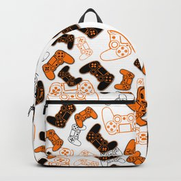 Video Games Orange on White Backpack