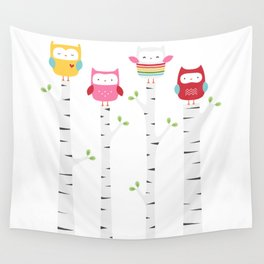 Treetop Owls Wall Tapestry