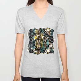 Circles Galore in Teal Unisex V-Neck