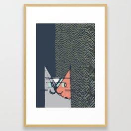 Cubist Cat Study #1 by Friztin Framed Art Print