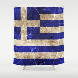 Vintage Aged and Scratched Greek Flag Shower Curtain