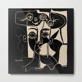 Picasso Woman's head #8 black line Metal Print