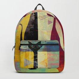 Mid-Century Modern Art 4 Cats - Graffiti Style Backpack