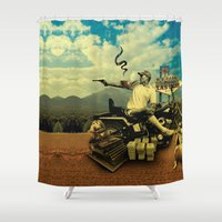 hunter s thompson Shower Curtains featuring Hunter S by mattdunne