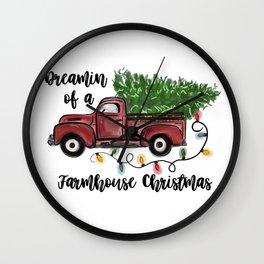Farmhouse Christmas Pickup Wall Clock