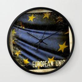 Grunge sticker of European Union flag Wall Clock