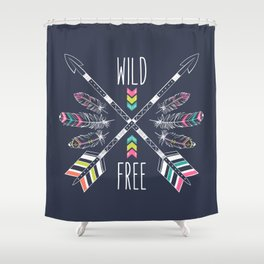 """Ethnic frame made of feathers, threads and beads with text """"Wild and Free"""". Freedom concept. Shower Curtain"""