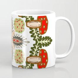 Fly Agaric Toadstool Forest Folkart, Red Fungi Mushroom Design with Trees Coffee Mug