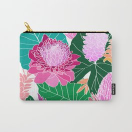 Tropical Botanical Pond in White Carry-All Pouch