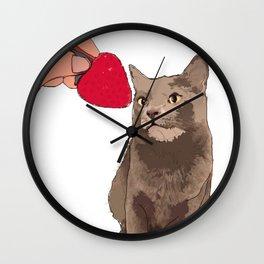 Cat & Strawberry Wall Clock
