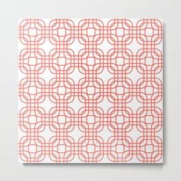 Coral Geometric Lattice Metal Print