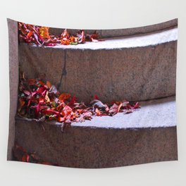 Red Leafs On Stairs Wall Tapestry