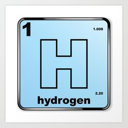 Hydrogen From The Periodic Table Art Print