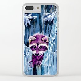 Colorful Racoon Clear iPhone Case