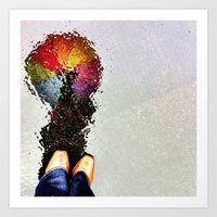 Rainbow Umbrella Art Print