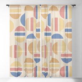 Mid Century Mod Half Circle Pattern Sheer Curtain