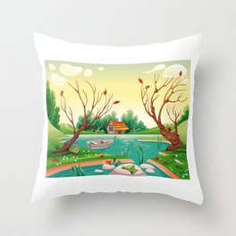Pond and animals.  Throw Pillow