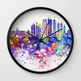 Manila V2 skyline in watercolor background Wall Clock