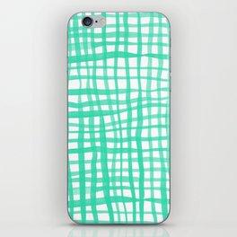 Watercolor doodle gingham - aqua iPhone Skin