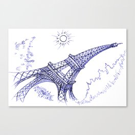 Eiffel Tower in Blue Canvas Print