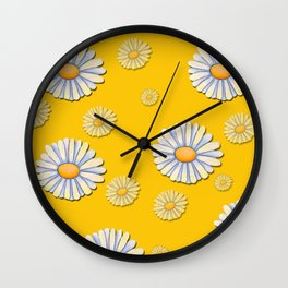 Tossed White Daisies Yellow Background Wall Clock
