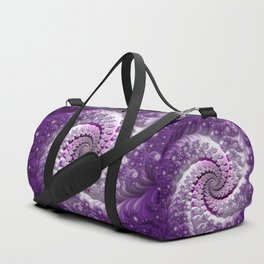 Beautiful Bloom of Lilacs Lavender Fractal Spiral Duffle Bag