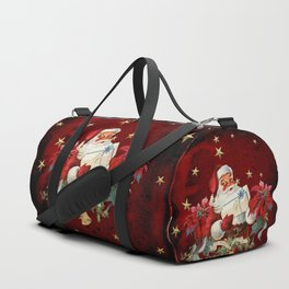 Santa Claus with gifts and christmas flower Duffle Bag