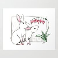 rabbits Art Prints featuring Rabbits by LyndaParker