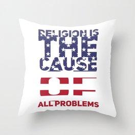 (tshirt) Religoin is the cause o fall problems (horizontal flag) Throw Pillow