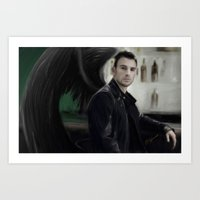 chris evans Art Prints featuring Angel Evans by Andi Robinson
