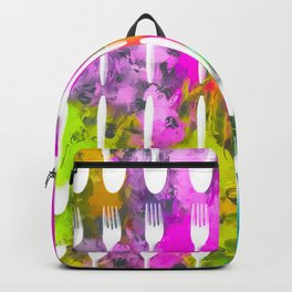 fork and spoon pattern with colorful painting abstract background Backpack