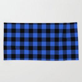 Royal Blue and Black Lumberjack Buffalo Plaid Fabric Beach Towel