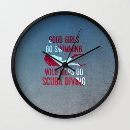 Wild girls go scuba diving Wall Clock