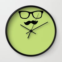 mustache Wall Clocks featuring Mustache by Isabel Moreno-Garcia