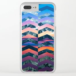 Sunsetting Mountains -Wide Chevrons Clear iPhone Case