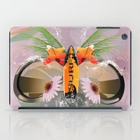 surfboard iPad Cases featuring Surfing, sunglasses with surfboard  by nicky2342