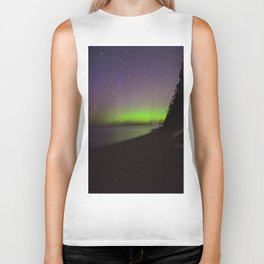 Northern Lights by Lake Michigan Beach Biker Tank