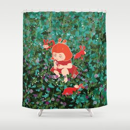 Girl Picking Wild Flowers Shower Curtain