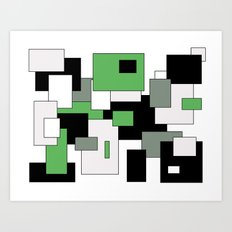 Squares - green, gray, black and white. Art Print