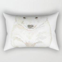 Polar Bear Cub Watercolor Painting Rectangular Pillow