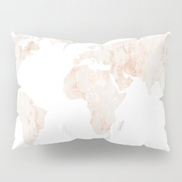 Marble World Map Light Pink Rose Gold Shimmer Pillow Sham