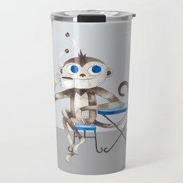 Monkey enjoys coffee smell Travel Mug