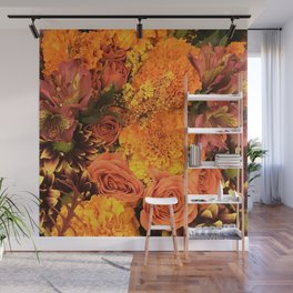 Autumn Floral Bouquet in Bright Orange and Golds Wall Mural