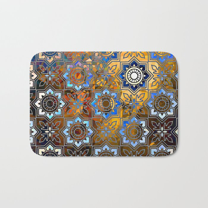 Blue and Gold Pattern Bath Mat