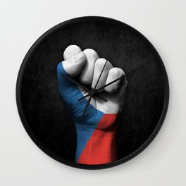Czech Flag on a Raised Clenched Fist Wall Clock